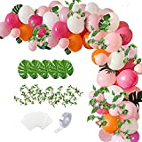 Tropical Balloons Garland Arch Kit, 106 pcs Luau Party Supplies Pink White Orange Balloon with Palm Leaves Flower Vine for Jungle Themed Hawaii Party Decorations