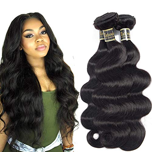 10A Brazilian Body Wave Virgin Hair 3 Bundles Deal 100% Unprocessed Remy Human Hair Body Wavy Double Weft Weave Real Cheap Good Quality Hair Extensions 10A (22 20 18), natural black) Tatous Hair