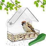 ODOOKON Mangiatoia per Uccelli Casetta Uccellini da Giardino Casetta per Uccellini da Giardino con 3 Ventose e Vassoio Cucchiaio di Alimentazione Casetta Uccellini da Appendere