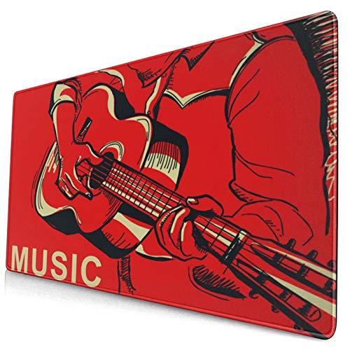 Linda Alfombrilla de ratón,Músico,Tocar la Guitarra,Alfombrilla Rectangular de Goma Antideslizante para computadora de Escritorio,Alfombrilla de Escritorio para Jugadores,15.8'x29.5
