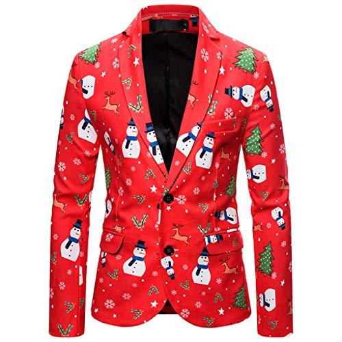 Hniunew Elegant Anzug Herren Lustige Weihnachten Jacke Blazer Smokingjacke Sakkos Bunt Muster Drucken Jacken Winter Herbst Warm Sweatshirt Langarmshirts MäNner GemüTlich Coole Blazer