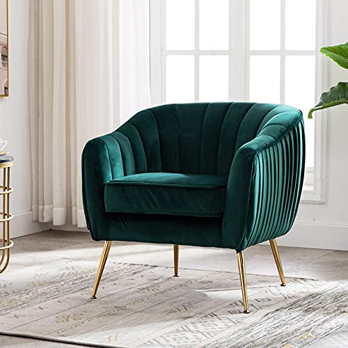 Artechworks Modern Velvet Tub Chair Armchairs Upholostered Occasional Accent Lounge Sofa Chair Gold Metal Legs,Scalloped Club Home Office Chair for Living room,Bedroom,Reception,Dark Green