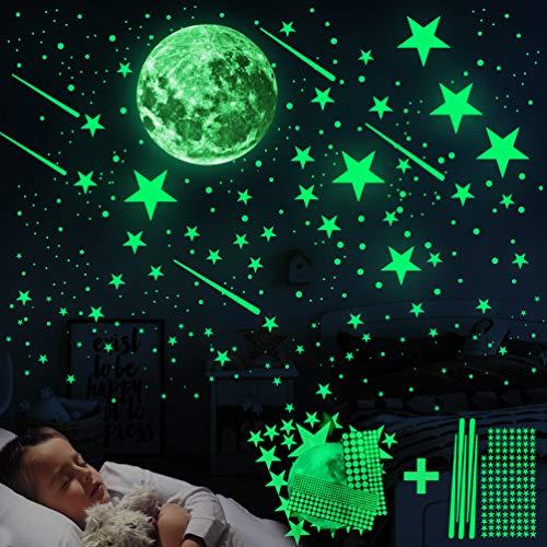 Leuchtsticker Wandtattoo, 6 Stück Leuchtsterne Wandtattoo Selbstklebend Wandsticker Leuchtaufkleber, Fluoreszierend Leuchtsterne Wandsticker für Kinderzimmer, Jungen Mädchen Schlafzimmer