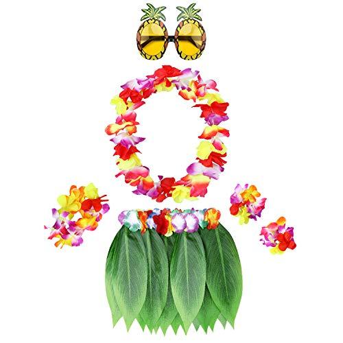 PHOGARY 6 Teilig Hawaii Mottoparty Kostüme Set, Hula Rock (Grün), Blumenkette, Blume-Armbänder, Ananas-Sonnenbrille für Hula Kostüm Beach Party