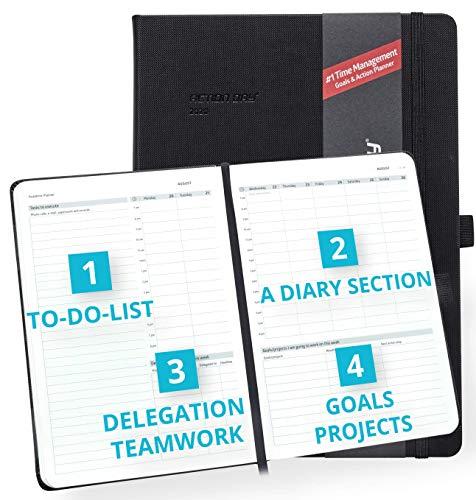 Action Day Planner 2020 - # 1 Time Management Design Dat maakt het gemakkelijk voor u om dingen gedaan, Dagelijks Wekelijks Maandelijks Jaarblad, Agenda, Gebonden, Zak, Pen Loop, Dik Papier (8x11, Zwart)