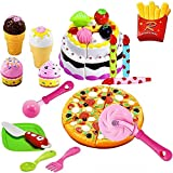FUNERICA Pretend-Play, Cutting Food, Toy Pizza, Ice Cream, Fries, & Toy Birthday Cake | Includes...