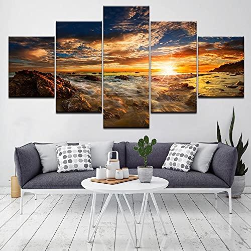 GUANGWEI HD Poste Impresión Modular Alta Definición con Marco Elástico Moderno De Tela No Tejida Amanecer Muebles Modernos Arte Decoración Pared Pintura 5 Pinturas Combinadas