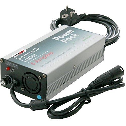 kraftmax 6A Schnell- Ladegerät für E-Bike Vision Powerpack Akkus passend zu Panasonic 26V Antrieb Flyer/Kalkhoff/Kettler/Raleight/Victoria/UVM Edition