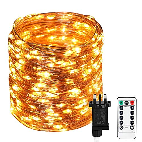 Koopower 300 LEDs Fairy Lights Plug in Main Powered Lights, [Remote&Timer] 105 ft Outdoor Fairy Lights 8 Mode Copper Wire Garden String lights For Halloween Christmas Bedroom Party Wedding(Warm White)