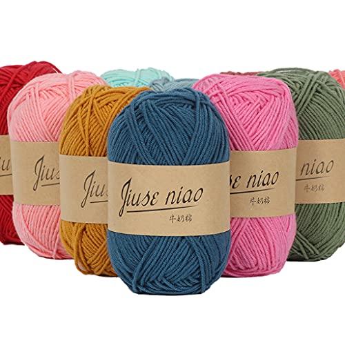 1 rollo de hilo de ganchillo de algodón, suave y ligero, adecuado para tejer ropa, bufandas,...