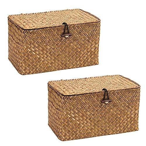 WOOD MEETS COLOR Aufbewahrungsbox Seagras Aufbewahrungskiste Dekobox Kosmetik Aufbewahrung mit Deckel Aufbewahrungskörbe aus Natürliche Praktische 24 × 13× 14cm (Original x2)