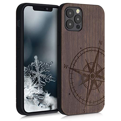 kwmobile Wooden Case Compatible with Apple iPhone 12/12 Pro - TPU Bumper - Navigational Compass Dark Brown