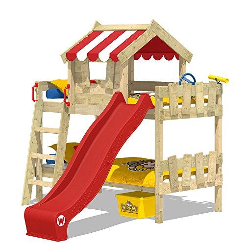 WICKEY Lits superposés CrAzY Circus lit mezzanine lit enfant avec toboggan, toit et sommier à lattes, bâche rouge + toboggan rouge, 90x200 cm