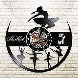 WERWN Reloj de Pared Art Deco de Sala de Ballet Reloj de Pared con Disco de Vinilo de Baile