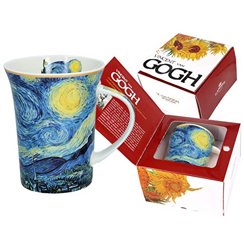 Carmani - Tazza in porcellana decorata con 'Notte stellata' di Vincent Van Gogh, 350 ml