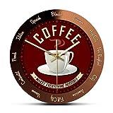 hufeng Reloj de Pared para Amantes del café, Letrero para Barra de café, Tiempo de café, Reloj de Pared silencioso, decoración artística para Pared, Reloj de Pared, Regalo para Amantes del café