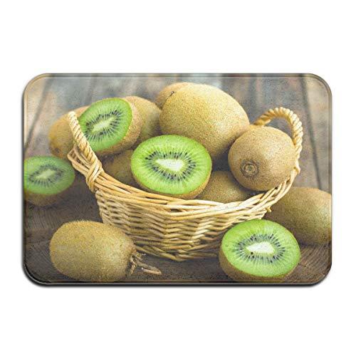 SESILY Felpudo Green Kiwi Fruits Wood Antideslizante Alfombra para exteriores Premium Alfombra para interiores 40 x 60 cm