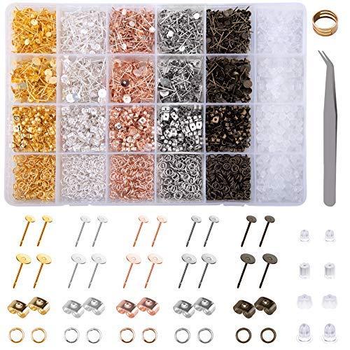 3500 piezas de acero inoxidable pendientes pendientes pendientes pendientes pendientes almohadilla plana pendientes pendientes en blanco con mariposa y goma…