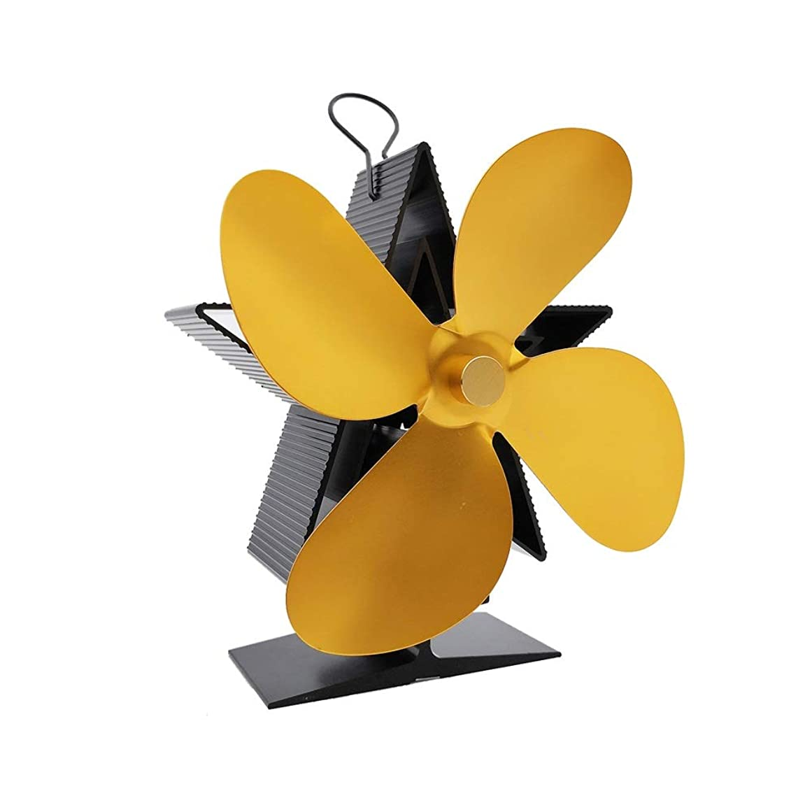 囲い酔っ払い重荷エコファン 火力熱炉ファン 耐久性に優れた4枚羽根熱搭載ファンのために薪ストーブログバーナー暖炉 - エコフレンドリー 暖炉用品 スチール製 ストーブ (色 : ゴールド, サイズ : 18x15x9cm)