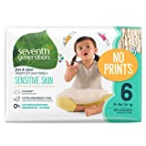 Seventh Generation Baby Diapers for Sensitive Skin, Plain Unprinted, Size 6, 100 Count (Packaging May Vary)