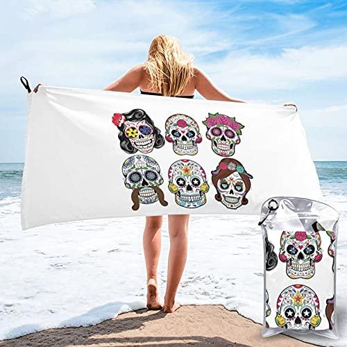 Toalla de baño de calavera de azúcar, toalla de gimnasio, toalla de playa, uso multiusos para deportes, viajes, súper absorbente, microfibra