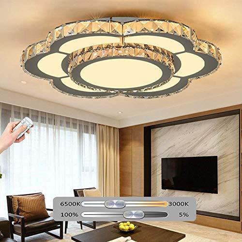 K9 Crystal LED Plafondlamp Dimbaar met Afstandsbediening Kristal + RVS Lampenkap Moderne Bloemenvorm Plafond Lamp Geschikt voor Slaapkamer Woonkamer Eetkamer Kantoorverlichting