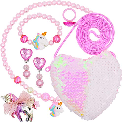 WENTS Unicorn Pendant Jewelry Sets 6PCS Little Girls Jewelry Unicorn Necklace Bracelet Love Package Ring Ear Clip Pink for Girls Little Kids Birthday Party Gift