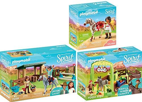 PLAYMOBIL® Spirit 3er Set 70119 70120 70123 Reitplatz mit Lucky & Javier + Pferdebox Snips & Herr Karotte + Solana beim Voltigieren