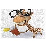 Amknu Puzzle da 1000 Pezzi,Giraffa Divertente degli Animali del Fumetto con i vetri Che bevono Succo,Family Large Puzzle Game Opera d'Arte per Adulti,Ragazzi,Bambini