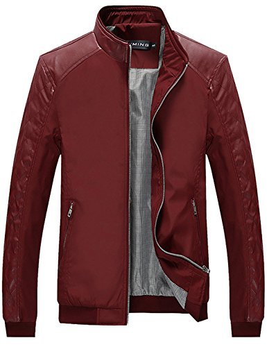 Tanming Men's Color Block Slim Casual Thin Lightweight Jacket (Large, Red)
