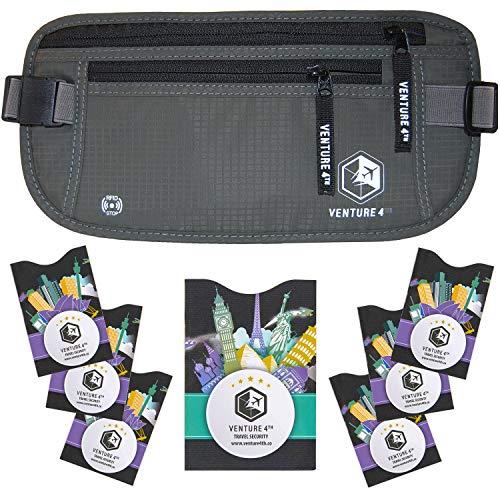 VENTURE 4TH RFID Money Belt for Travel: The Trusted Hidden Waist Stash for Men and Women (Gray + RFID Sleeves)
