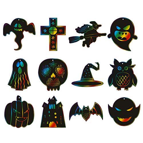 Kesote Kratzbilder Halloween 36x Kratzpapier Regenbogen Kinder mit 24 Kratzstifte zum Basteln DIY Zeichnen Malen (12 Motive)