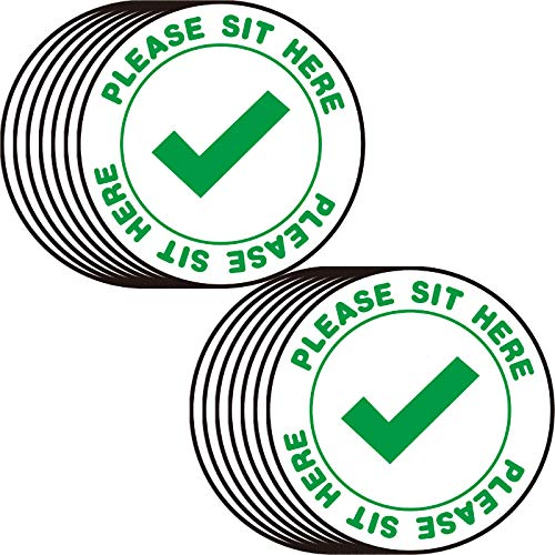 20 Pieces Please Sit Here Chair Sticker Social Distance Self Adhesive Vinyl Decal Table Sign Decals Allow Sit Here Sign Stickers Safety Notice Caution Decals 4 Inch