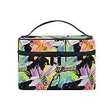 HaJie - Bolsa de maquillaje de gran capacidad, organizador de pintura artística, diseño de libélula de viaje, portátil, neceser, bolsa de almacenamiento, bolsa de lavado para mujeres y niñas