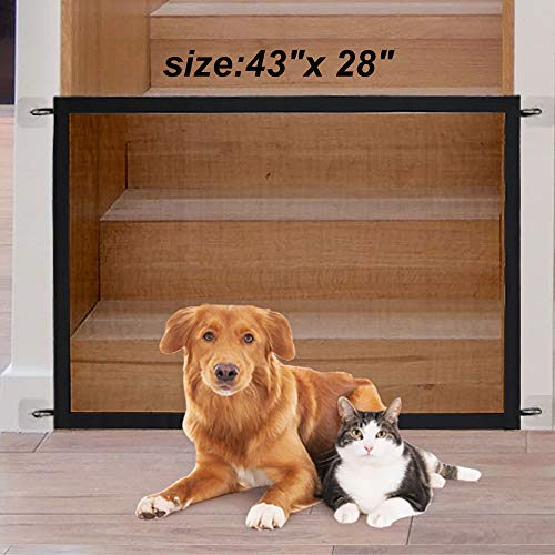 Magic Gate for Dogs, Pet Gate Dog Mesh Gate Safety Guard Gate for Stairs, Outdoor and Doorways Pet Isolation Net Safety Fence Install Anywhere, As Seen As On TV