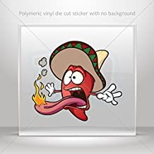 Food & Drink Various sizes Sticker Mexican Red Hot Chili Pepper Tablet Laptop Weatherproof Sports (8 X 7.14 Inches)