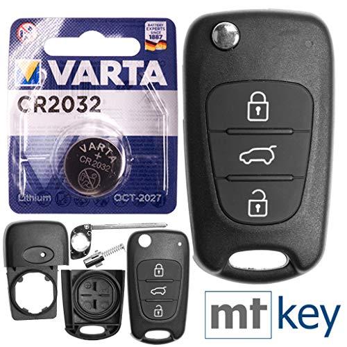 Kia Auto Llave Mando a Distancia Intercambio Carcasa con 3Botones + en Blanco + Batería para Kia Rio III Ceed I Sportage III Sorento II Soul I