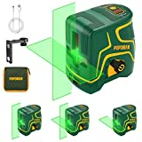 Laser Level, USB Charge, 45m POPOMAN Green Cross Laser, Self-leveling and Outdoor Pulse Mode, Two Laser Modules, Magnetic Holder, 120 ° Wide Angle, 360 ° Swivel, IP54 - MTM310B