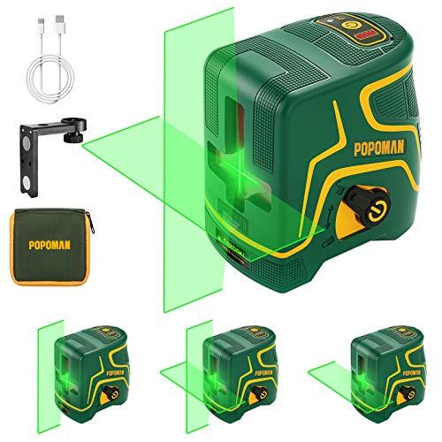 Niveau Laser, USB Charge, 45m Laser Croix Vert POPOMAN, Autonivellement et Mode Pulsé Extérieur, Deux Module Laser, Support Magnétique, Grand Angle 120°, 360° Pivotant, IP54 - MTM310B
