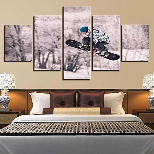 yuandp canvasdruk modulaire landschapsmode schilderij decoratie 5 snowboarden moderne kunst afbeelding goedkoop frame poster zonder lijst