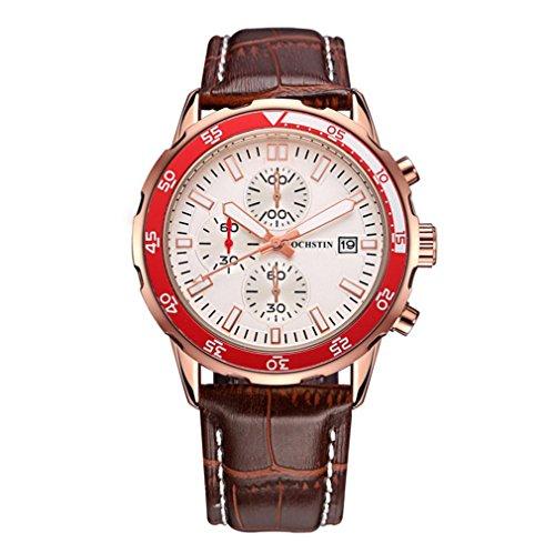 XINLEE Herrenuhr Multifunktions-Bewegungszeiger Schuhe Leder Gürtel Wasserdichte Uhr, 004