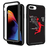 Case for iPhone 6 Plus 6s Plus, iPhone 8 Plus Case, iPhone 7 Plus Case Basketball Black for Boy Men Designer Shockproof Rugged Dual Layer Bumper Full-Body Protective Cover 5.5 inch, Dunk Basketball
