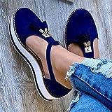 JFFFFWI Sandalias de Verano para Mujer Sandalias de Verano, Sandalias de Cuero con borlas Zapatos con Hebilla de Punta Cerrada, Sandalias de Playa de tacón Vintage, Alpargatas, Azul, 35