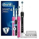 Oral-B Smart 4 4900 Spazzolino Elettrico Ricaricabile, Rosa e Nero Connesso con Bluetooth, 2 Testine di Ricambio, Idea Regalo Natale