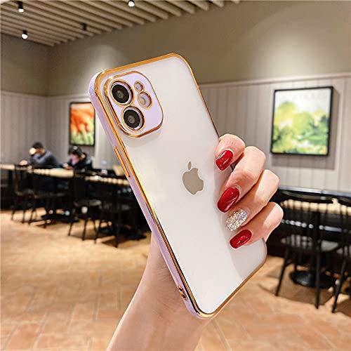 Funda Transparente Plateada de Lujo para iPhone 12 Pro MAX 11 7 8 Plus SE 2020 Funda de Silicona galvanizada en Oro para iPhone XS MAX XR X TPU, Morado, para iPhone XR