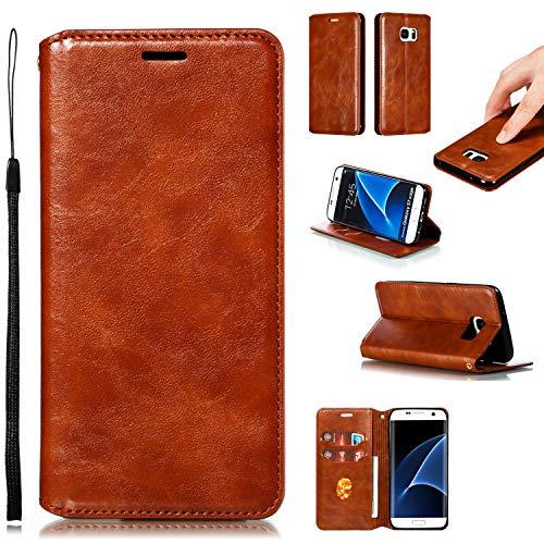 LODROC Galaxy S7 Edge Hülle, TPU Lederhülle Magnetische Schutzhülle [Kartenfach] [Standfunktion], Stoßfeste Tasche Kompatibel für Samsung Galaxy S7Edge/G935F - LOYKB0200208 Braun