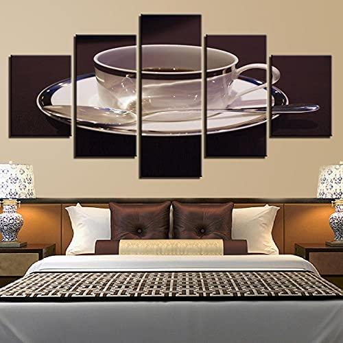 Marco de arte de pared impreso en HD, cuadros modernos, decoración del hogar, 5 paneles, taza de café, pinturas para sala de estar, carteles