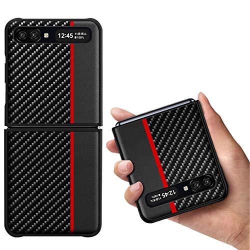 Zouzt für Z Flip 5G Kohlefasergehäuse | Ultra Slim | Leichtgewicht | Kratzfest | Drahtloses Laden | Schutzhülle Kompatibel mit Samsung Galaxy Z Flip/Z Flip 5G Hülle (2020) -Rot