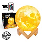 Moon Night Light Lamp 3D Printing, Lunar Glow LED Moon Light with Stand, Remote and Touch Control and USB Rechargeable, Glowing Lights for Baby Kids Lover Birthday Party or Nursery Present (4.7 inch)