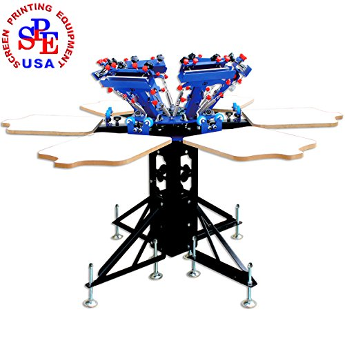 TECHTONGDA 6 Color 6 Station Double Wheel Screen Printing Machine T-Shirt Heavy Duty DIY